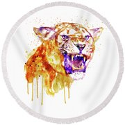Round Beach Towel featuring the mixed media Angry Lioness by Marian Voicu