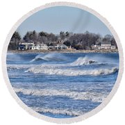 Angry Sea Round Beach Towel by Tricia Marchlik