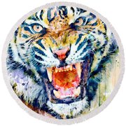 Angry Tiger Watercolor Close-up Round Beach Towel