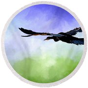 Anhinga In Flight Round Beach Towel by Cyndy Doty
