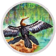 Anhinga In Paradise Round Beach Towel