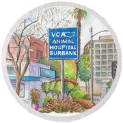 Anibal Hospital Burbank In Olive St., Burbank, California Round Beach Towel