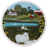 Round Beach Towel featuring the painting Animal Farm by Virginia Coyle