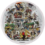 Animal House  Round Beach Towel