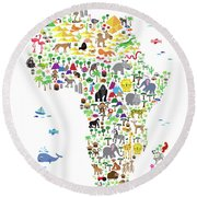 Animal Map Of Africa For Children And Kids Round Beach Towel