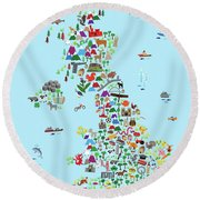 Animal Map Of Great Britain And Ni For Children And Kids Round Beach Towel