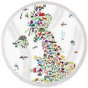 Animal Map Of Great Britain For Children And Kids Round Beach Towel