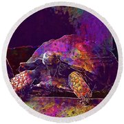 Round Beach Towel featuring the digital art Animal Turtle Zoo  by PixBreak Art