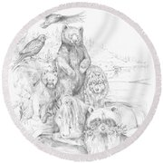 Animal Wisdom Round Beach Towel