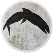 Animalia Black Fish Round Beach Towel