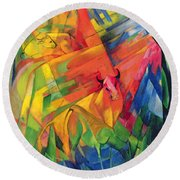 Animals In A Landscape Round Beach Towel by Franz Marc