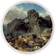 Animals Leaving The Ark, Mount Ararat  Round Beach Towel by Filippo Palizzi