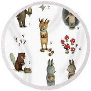 Animals Numbers - Numbers Poster Set - Educational Posters - Nursery Wall Art - Nursery Decor - Nurs Round Beach Towel