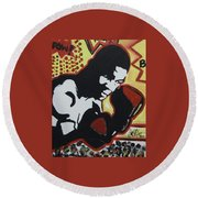 Animated Mike Round Beach Towel