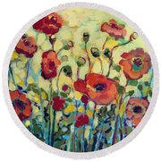 Anitas Poppies Round Beach Towel