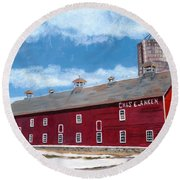 Round Beach Towel featuring the painting Anken's Barn by Lynne Reichhart