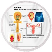 Ankh Womb Round Beach Towel