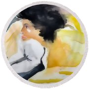 Ann Watching Tv - Digitalart Round Beach Towel