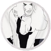 Anna-black Stockings Round Beach Towel