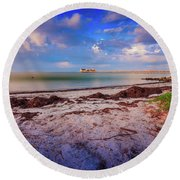 Anna Maria City Pier Round Beach Towel