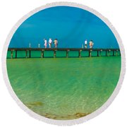 Anna Maria Island Historic City Pier Panorama Round Beach Towel