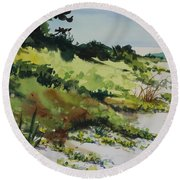 Round Beach Towel featuring the painting Anna Marie Island by Elizabeth Carr