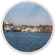 Annapolis City Skyline Round Beach Towel