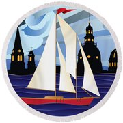 Annapolis Skyline Red Sail Boat Round Beach Towel
