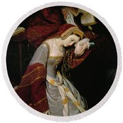 Anne Boleyn In The Tower Round Beach Towel by Edouard Cibot