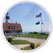 Portland Lighthouse ----- Edit Round Beach Towel