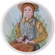 Round Beach Towel featuring the painting Anne Of Green Gables by Kelly Mills