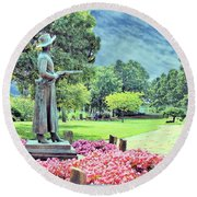 Round Beach Towel featuring the photograph Bronze Of Belle Starr The Bandit Queen by Janette Boyd