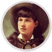 Annie Oakley, Sharpshooter Round Beach Towel
