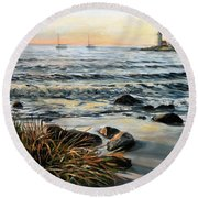 Annisquam Beach And Lighthouse Round Beach Towel
