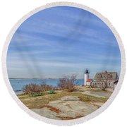 Annisquam Harbor Lighthouse Round Beach Towel