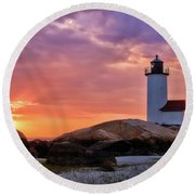 Annisquam Lighthouse Sunset Gloucester Ma Round Beach Towel