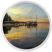 Round Beach Towel featuring the photograph Anniversary Sunset by Ronda Broatch
