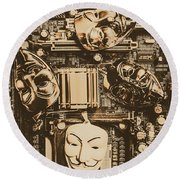 Anonymous Cyber Masks Round Beach Towel