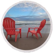 Another Busy Beach Day Round Beach Towel