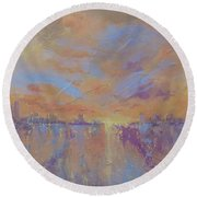 Round Beach Towel featuring the painting Another Dimension by Laura Lee Zanghetti