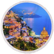 Another Glowing Evening In Positano Round Beach Towel