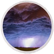 Another Impressive Nebraska Night Thunderstorm 007 Round Beach Towel