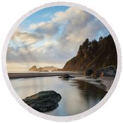 Another Moonstone Sunset Round Beach Towel