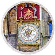 Anotomical Clock At Wells, Uk Round Beach Towel