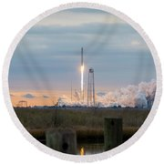 Antares Launch From Wallops Island Round Beach Towel