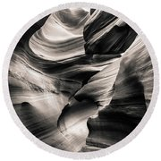 Antelope Canyon Bw Round Beach Towel
