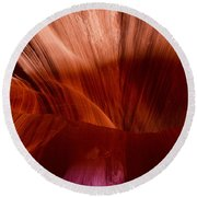 Antelope Canyon In Page Arizona  Round Beach Towel by John McGraw