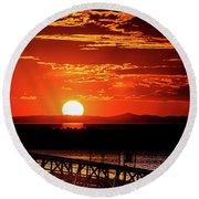 Antelope Island Marina Sunset Round Beach Towel
