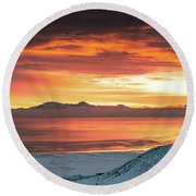 Round Beach Towel featuring the photograph Antelope Island Sunset by Bryan Carter