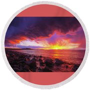Antelope Island Sunset Round Beach Towel